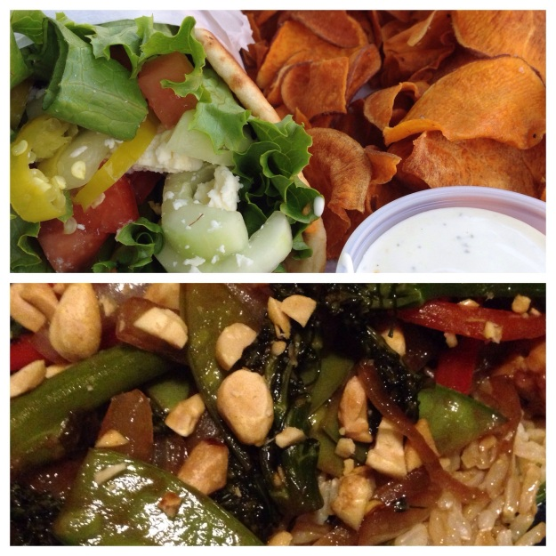 Top: Northridge Wrap; Bottom: Tempeh and Broccolini Stir Fry