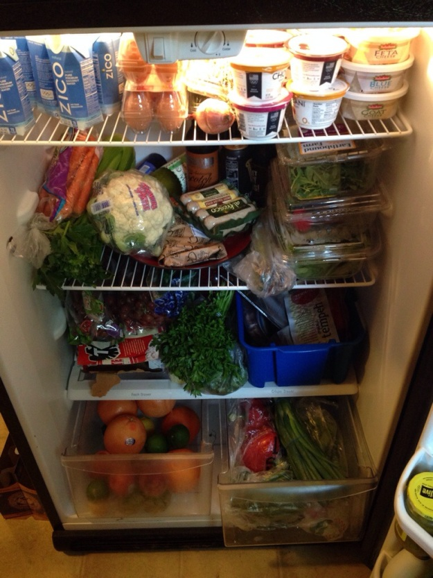 Fully-stocked fridge after my Sunday shopping trip!