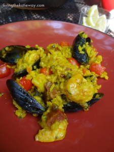 Paella Mixta with Shrimp, Mussels, & Chorizo